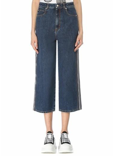 Alexander McQueen Alexander McQueen Yüksek Bel Şeritli Crop Jean Pantolon 101611720 Mavi
